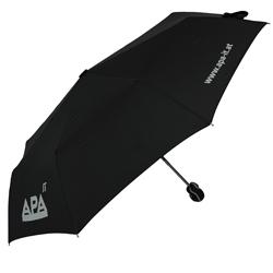 Schwarzer APA Regenschirm mit Logo bedruckt